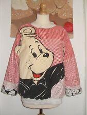 Size 14 M&S Vintage Disney Bear 80's Reversible padded Jumper Black White Red