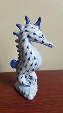Andrea by Sadek Blue And White Fishnet Porcelain Seahorse Figurine - Thailand
