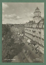 C1950'S RP PC KARL JOHANSGT OSLO NORWAY OVERHEAD VIEW TRAM, SHOPS PEOPLE ETC
