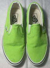 Women's VANS Neon Green Slip On Shoes Size 8 FREE SHIPPING