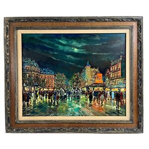 """Attributed to ANTOINE BLANCHARD 32"""" x 38"""" Moulin Rouge Night Paris Oil Painting"""