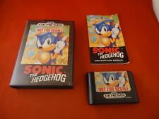 Sonic the Hedgehog 1 (Sega Genesis, 1991) Complete w/ Box manual game Works! #E1