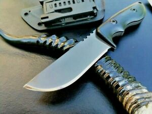 Titanium Plated Straightback Knife Hunting Wild Tactical Chrome Steel G10 Handle