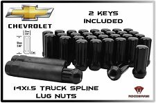 32 PC CHEVY 2500 3500 14x1.5 GLOSS BLACK SPLINE LOCKING LUG NUTS ACORN + 2 KEYS