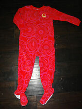 CARTER'S Girls Super-Comfy Red/Pink Flower Fleece Footed SLEEPER PAJAMAS Size 4T