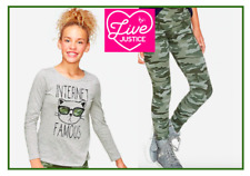 *NWT* JUSTICE GIRLS 7 8 10 SPARKLY INTERNET FAMOUS CAT TOP N CAMO LEGGINGS SET