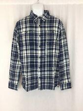 Men Vans long sleeve cotton plaid blue flannel Shirt tailored fit Size M New tag