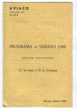 AVIACO PROVISIONAL TIMETABLE SUMMER 1960 HORARIOS SPAIN