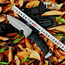 Drop Point Knife Fixed Blade Hunting Combat Jungle Tactical Wild Titanium Plated