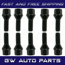 10 PCs Black M14x1.5 Lug Bolts 28mm Shank Conical Seat Wheel Lug Bolts