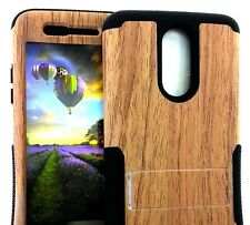 For LG ARISTO MS210 / K8 2017 - Hard&Soft Hybrid Armor Case Brown Wood Kickstand