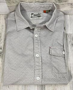Howler Brothers Men's Long Sleeve Button Down White w/ Scallop Print Shirt Sz L