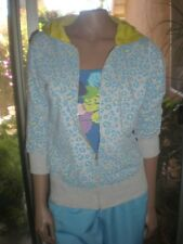 Womens Miss Chievous Gray Hoodie w/Blue & Yellow Leopard Print 3/4 Sleeve JR XL