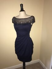 XSCAPE Dark Blue Navy prom, party, formal, Riches beaded, cocktail dress, SZ 2