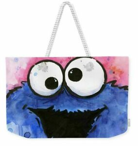 Cookie Monster Cartoon All-Over Graphic Tote Bag or Weekend Bag