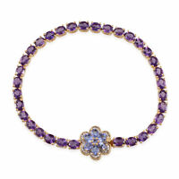 925 Sterling Silver Gold Plated Amethyst Flower Bracelet Size 8'' Ct 8.6