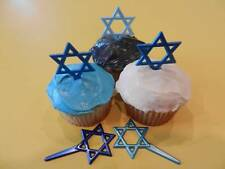 12 Star of David Hanukkah Cupcake Toppers Picks Cake Decorations Party Favors