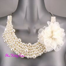 Flower Corsage Bib Statement Oasis Necklace Large Classic Chic Cream Pearls Lace