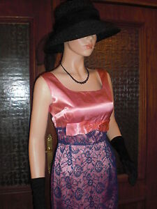 Vtg Origina 50s 60s Pink Satin Blue Chantilly Lace Long Dress! Size 8/10 Mad Men