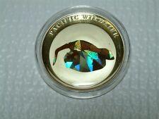 2009 Palau Silver $5 Pacific Wildlife - Tokay Gecko Prism
