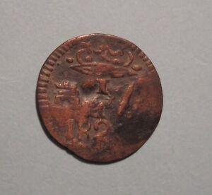 Colombia Santa Marta 1820 1/4 Real Copper World Coin RARE South America Castle