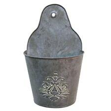 "Vintage-Style Galvanized Metal 11"" Wall Pocket"