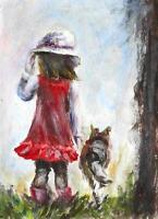Little girl Dog child animal ACEO landscape original painting miniature art