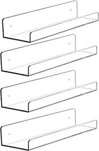 Yieach 15 Acrylic Floating Wall Ledge Shelf,Floating Book Shelves for Kids for 4