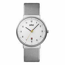 Braun Men's BN0032WHSLMHG Classic Mesh Analog Display Japanese Quartz Silver ...