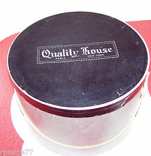 "Vintage Quality House Hat Box 13"" Wide By 8.75"" Tall Silver With Black Top"