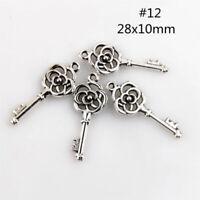 Free Ship 150Pcs Tibetan  Silver Rose Flower key Charms Pendants Findings #12