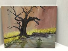 Acrylic Painting On Canvas 20 X 16 Old Tree Gold Grass And Lake Jl 062717Ba001