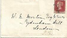 "1868 GB QV COPERCHIO PENNY ROSSO ""NK"" PIASTRA 92 da horndean a Londra 22ND FEBBRAIO 1868"