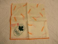 Vintage 1976 Montreal Canada Olympic Orange, White, & Green Logo Souvenir Scarf