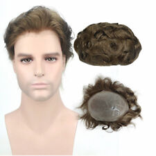 8x10'' Men's Wig Light Brown Skin PU Toupee Human Hair Replacement Men Hairpiece