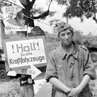 WWII Photo German Wehrmacht Soldier by Sign  Italy WW2 B&W World War Two / 2383