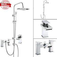 Bath Shower Mixer Tap with 3 Way Square Rigid Riser Shower Kit & Basin Tap