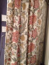 "Pottery Barn Set 2 Cynthia Floral Drape Ivory 84"" Curtain Pole Pocket Pair New"
