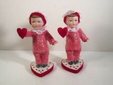 Pair Margaret Hair Retired Valentine'S Day Boy W/ Heart Glitter Figurines