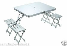 NEW Compact ALUMINIUM FOLDING 4-SEAT CAMP TABLE Outdoor Picnic Caravan