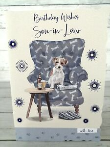 Birthday Wishes Son-In-Law, Card With Dog On Chair With Beer