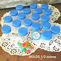 12 Tiny Pill Bottle JARS Blue Lids Caps 1/2 OZ Travel Samples 3304 DecoJars