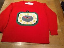 CATH KIDSTON CLOCKS RED LARGE JUMPER. NEW WITH TAG. RRP £70