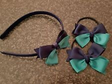 Madelienas Handmade  HEADBAND & HAIR TIES  Navy blue & Jade green