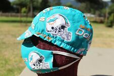 CYCLING CAP MIAMI DOLPHINS W/ FACE MASK 100 % HANDMADE IN USA L M S