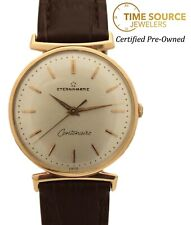 Vintage Eterna-Matic Centenaire Automatic 18K Rose Gold Silver Dial 33mm Watch