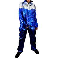 blue shiny wet look nylon glanz mens silky retro 90s 80s suit track  jacket