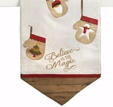 Holiday Table Runner Believe in the Magic Mittens Tan 13 X 36 Christmas