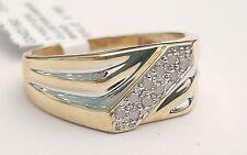 Yellow Gold Anniversary Ring Round Channel Mens Diamond Wedding Band 10k White