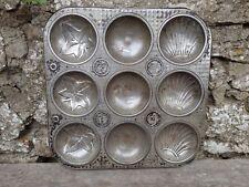 More details for vintage c1950's  baking bun cake tin - makes 9 - shell/leaf/plain motiffs
